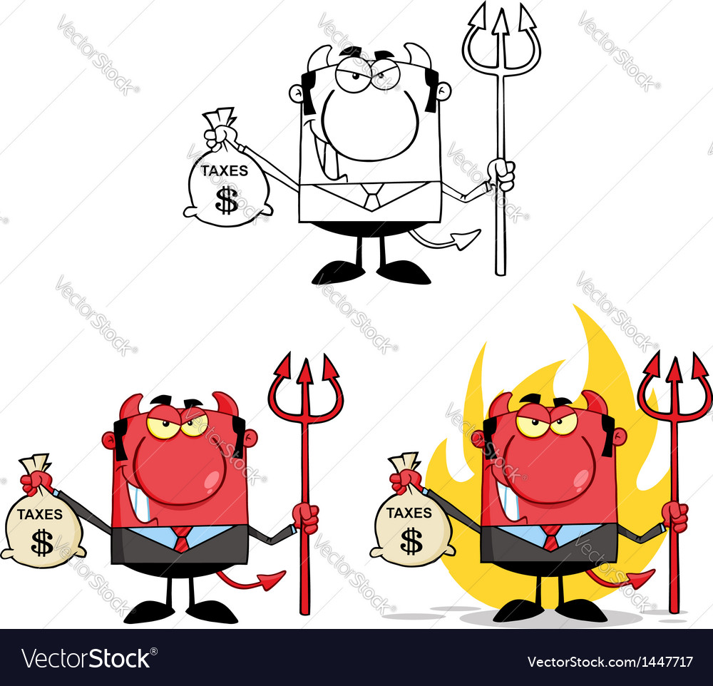 Smiling Devil Holding Taxes Bag Collection