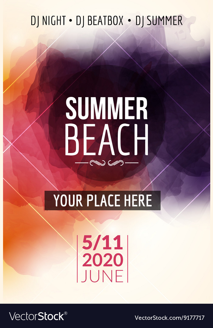 Summer beach party flyer template design Summer