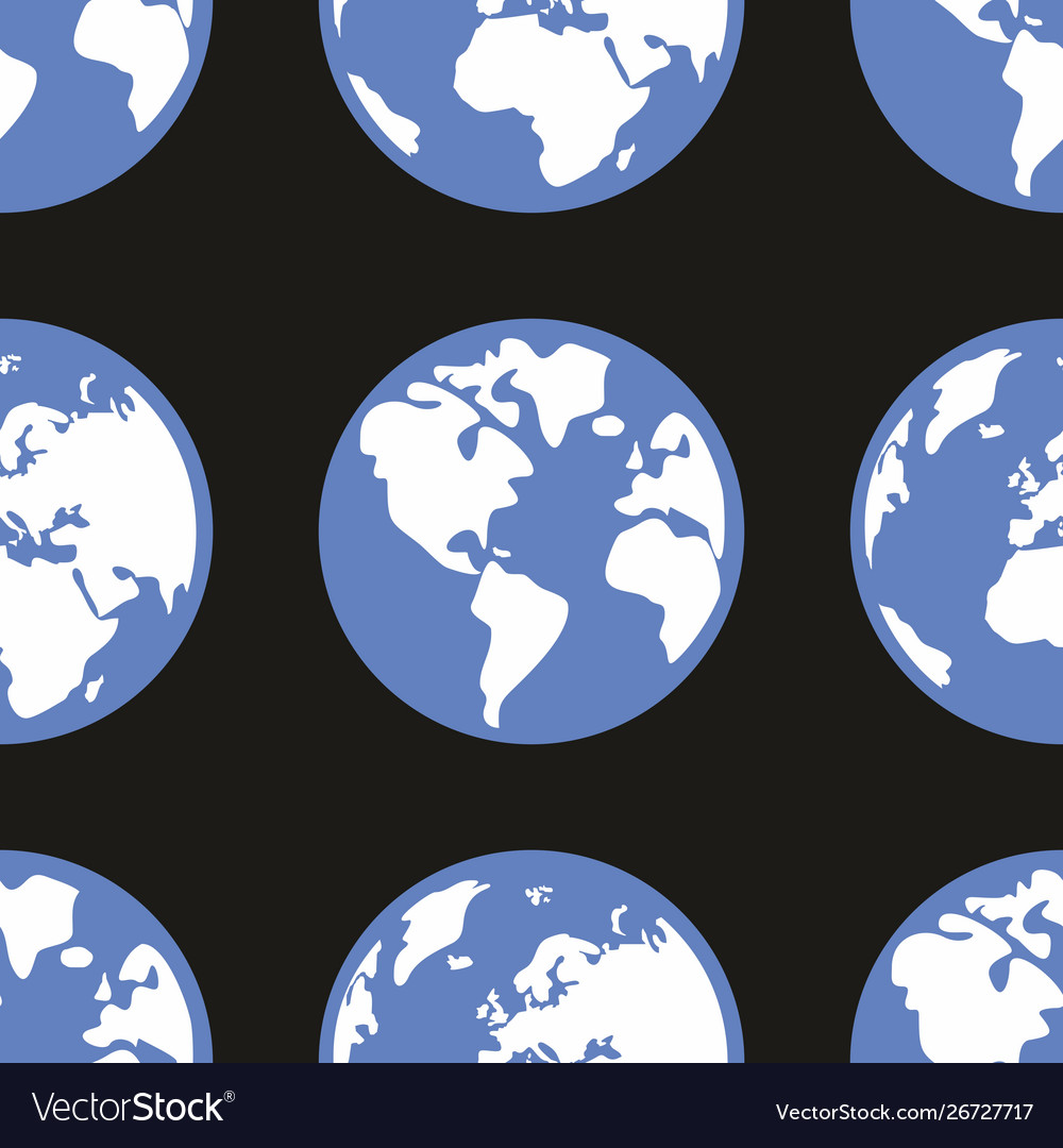 Tile pattern with planet earth on black background