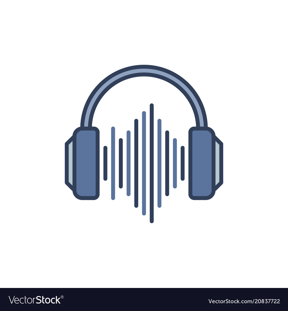 Blue headphones with sound wave icon