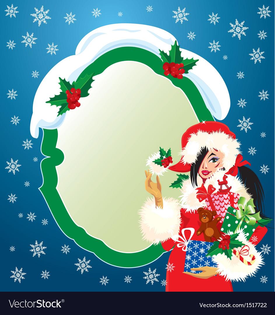 Brunette Christmas Girl wearing Santa Claus suit