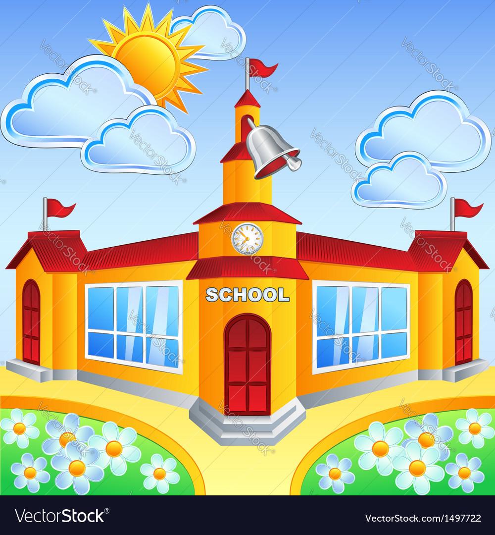 cartoon school building royalty free vector image rh vectorstock com cartoon high school building cartoon school building black and white