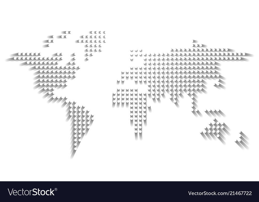 Dotted world map white dots with dropped shadow