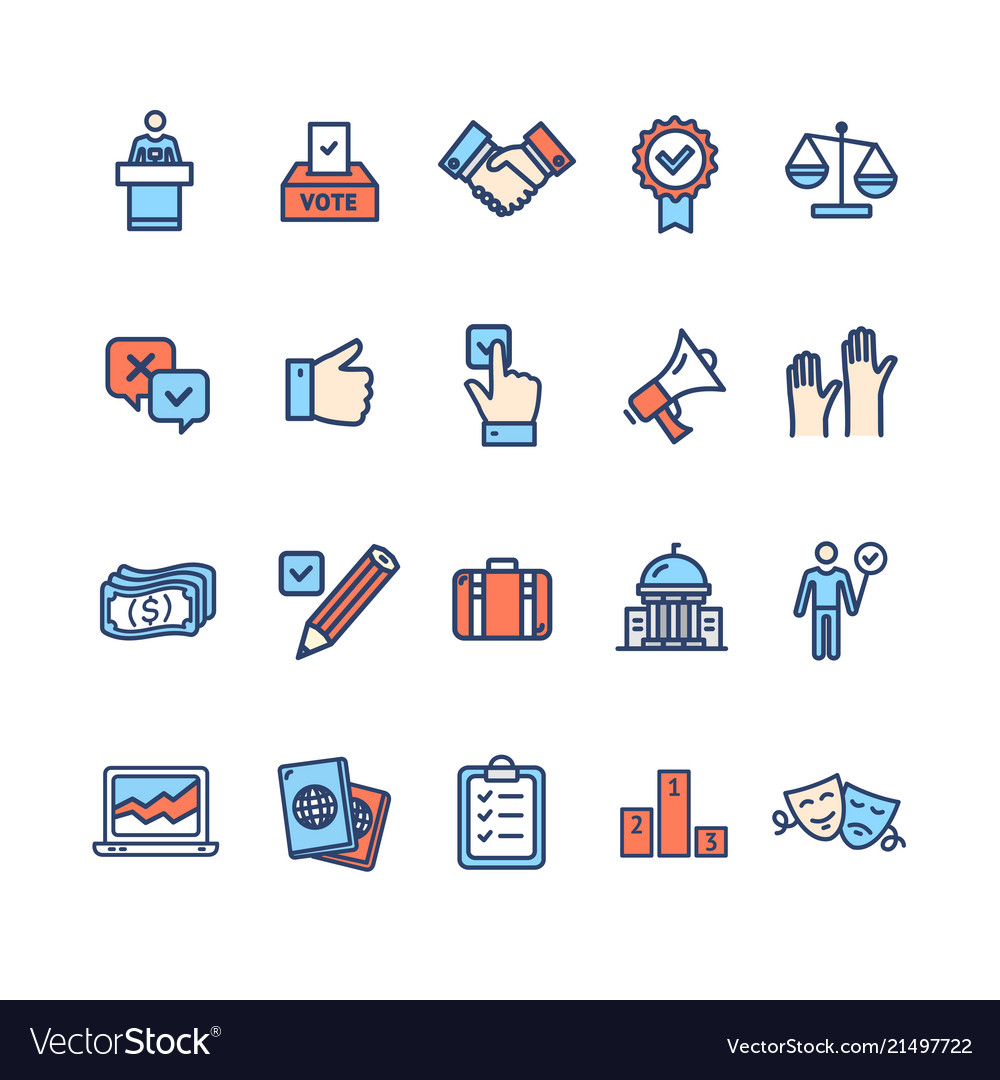 Election signs color thin line icon set