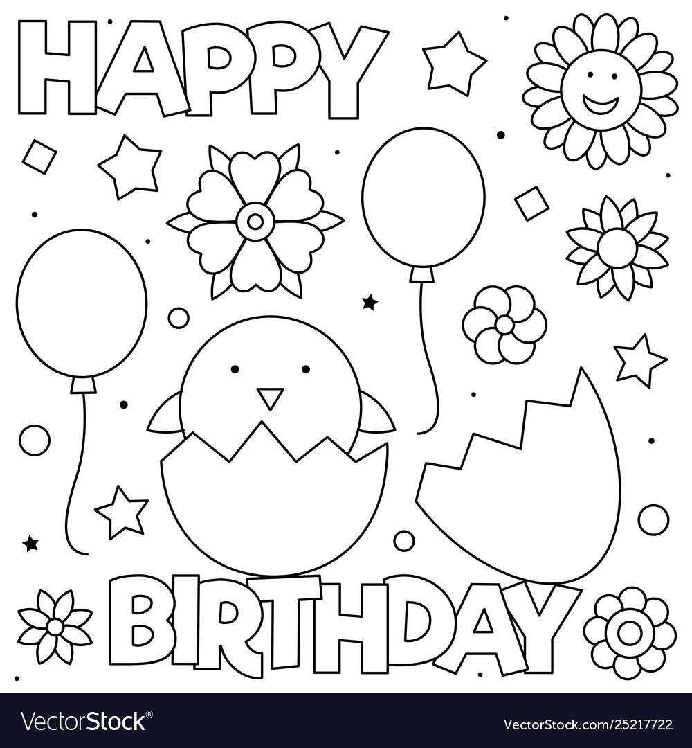 Happy birthday coloring page