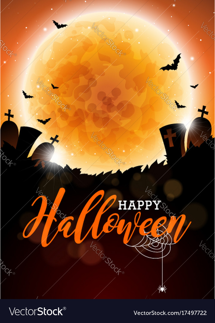 Happy halloween with moon and
