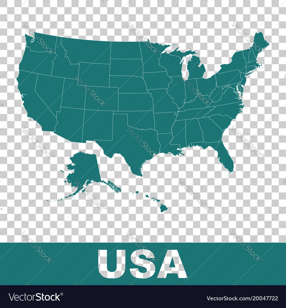 High detailed map - united states usa flat
