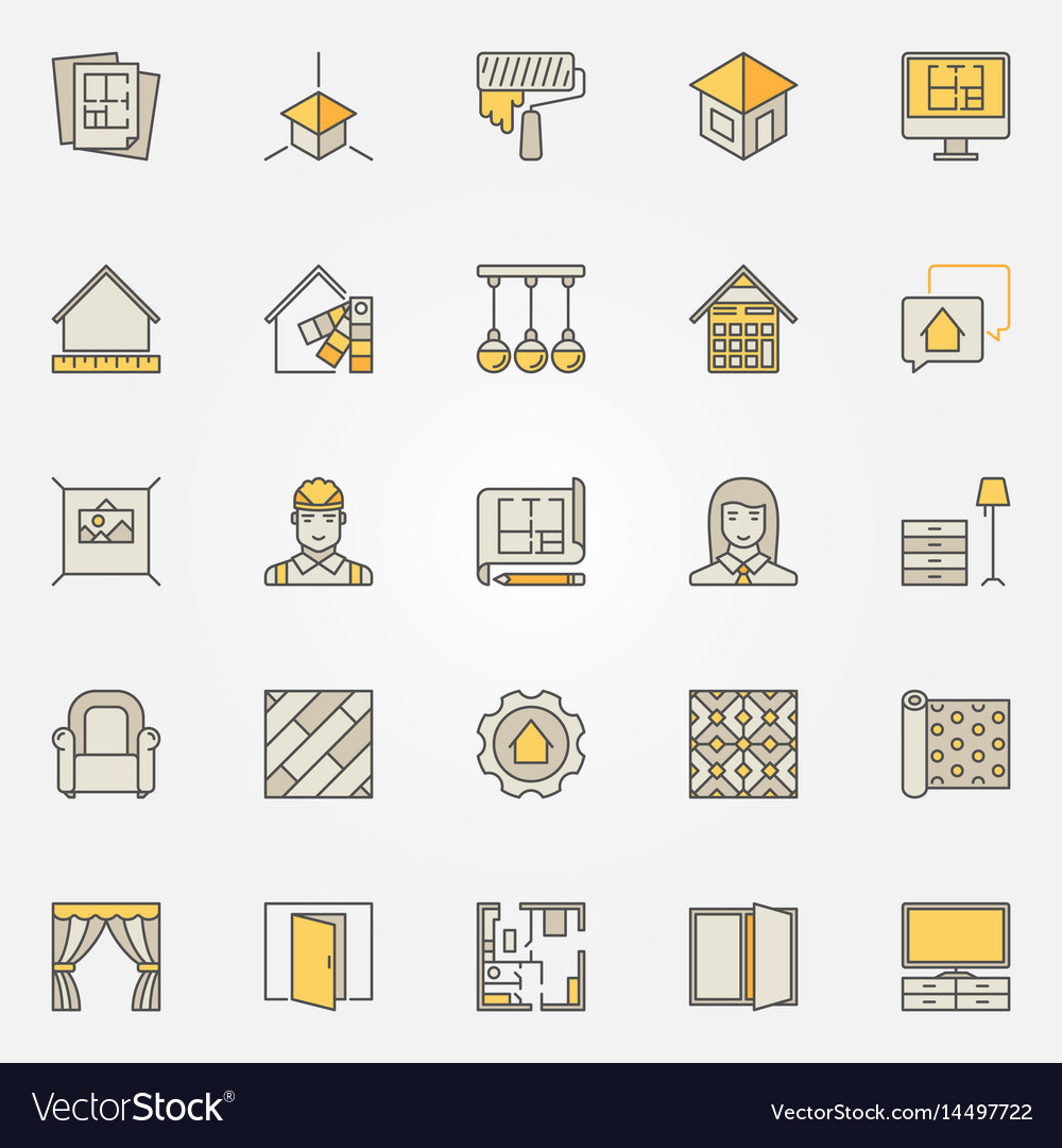 Home Interior Design Colorful Icons Royalty Free Vector