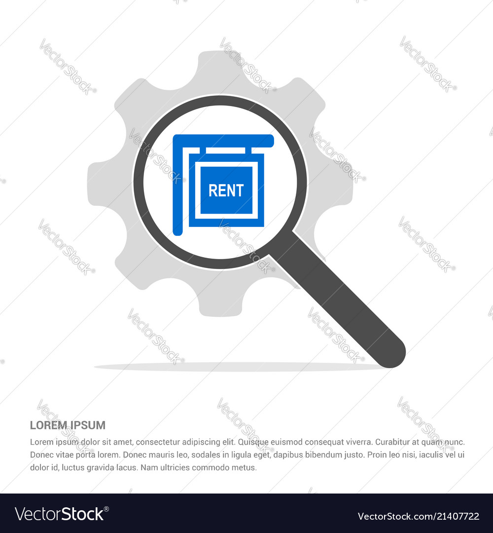 House for rent icon search glass with gear symbol