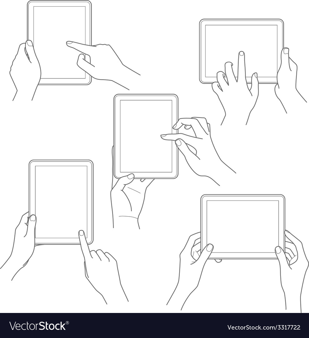 Set of tablet screen with hands