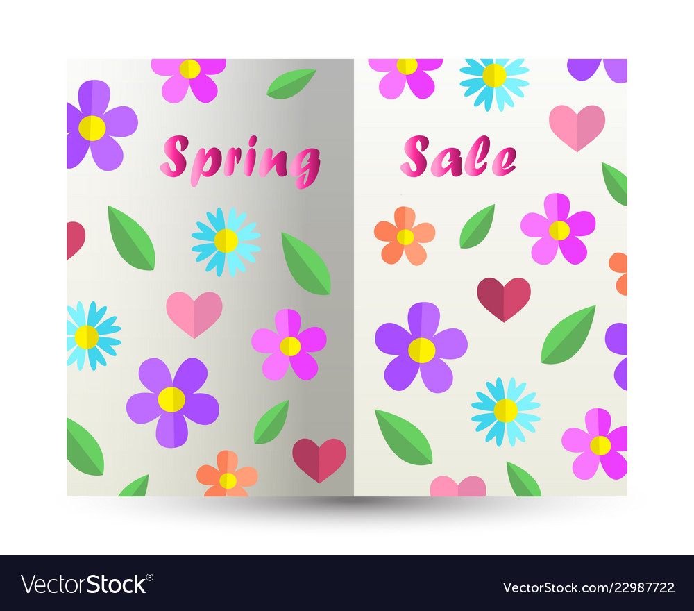Spring sale text design card paper cut out book