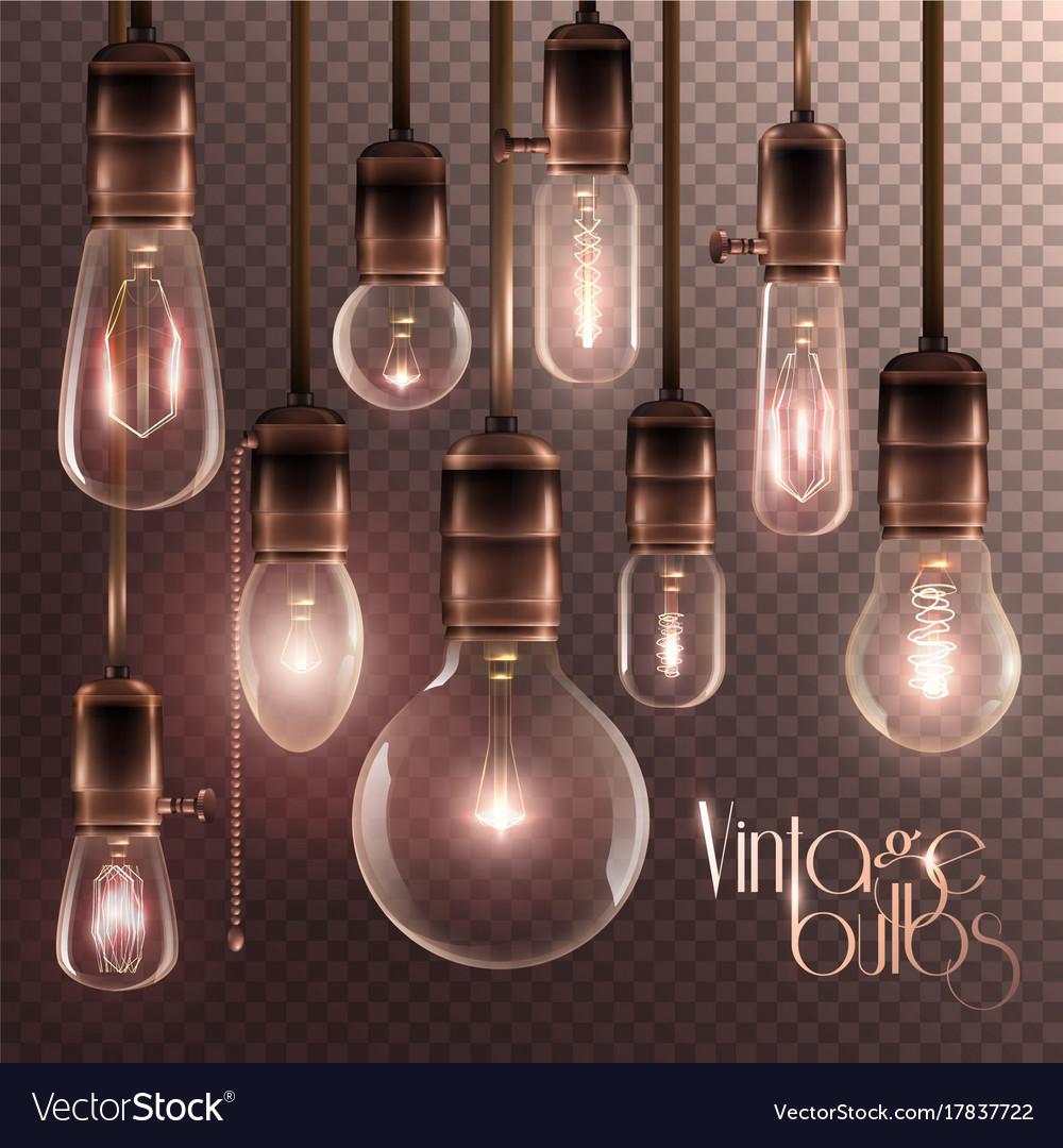 Vintage glowing light bulbs transparent set vector image