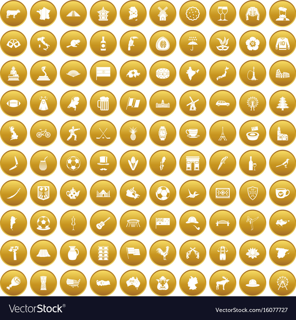 100 map icons set gold
