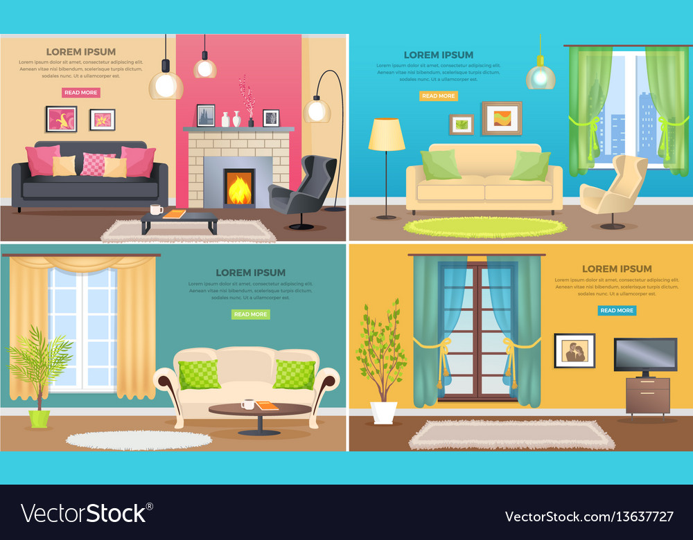 Apartment interiors web banners set vector image