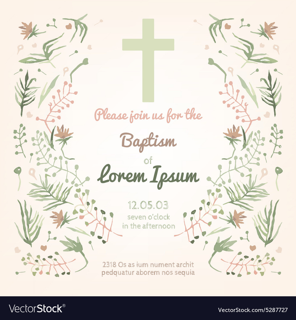 Baptism invitation card Royalty Free Vector Image