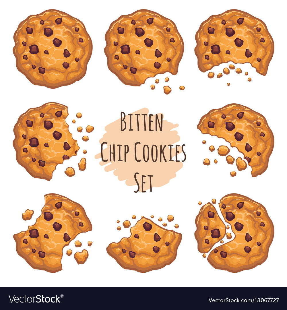 Bitten chocolate chip cookies set