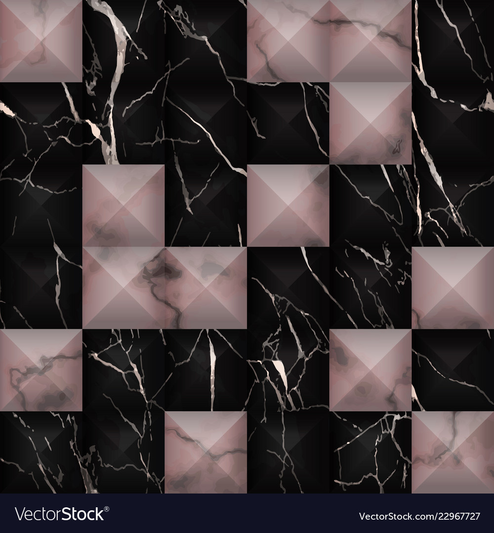 Black And Pink Marble 3d Geometric Seamless Vector Image