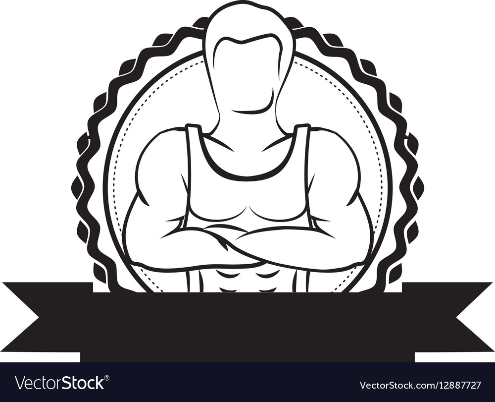 Black sticker border with muscle man crossed arms vector image