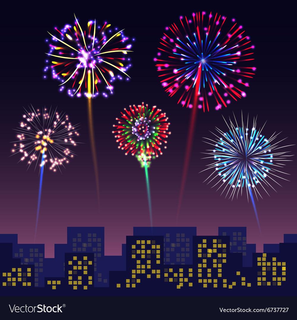 Bright festive fireworks with modern city