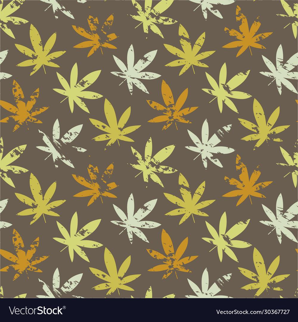 Cannabis leaf grunge marijuana leaf seamless