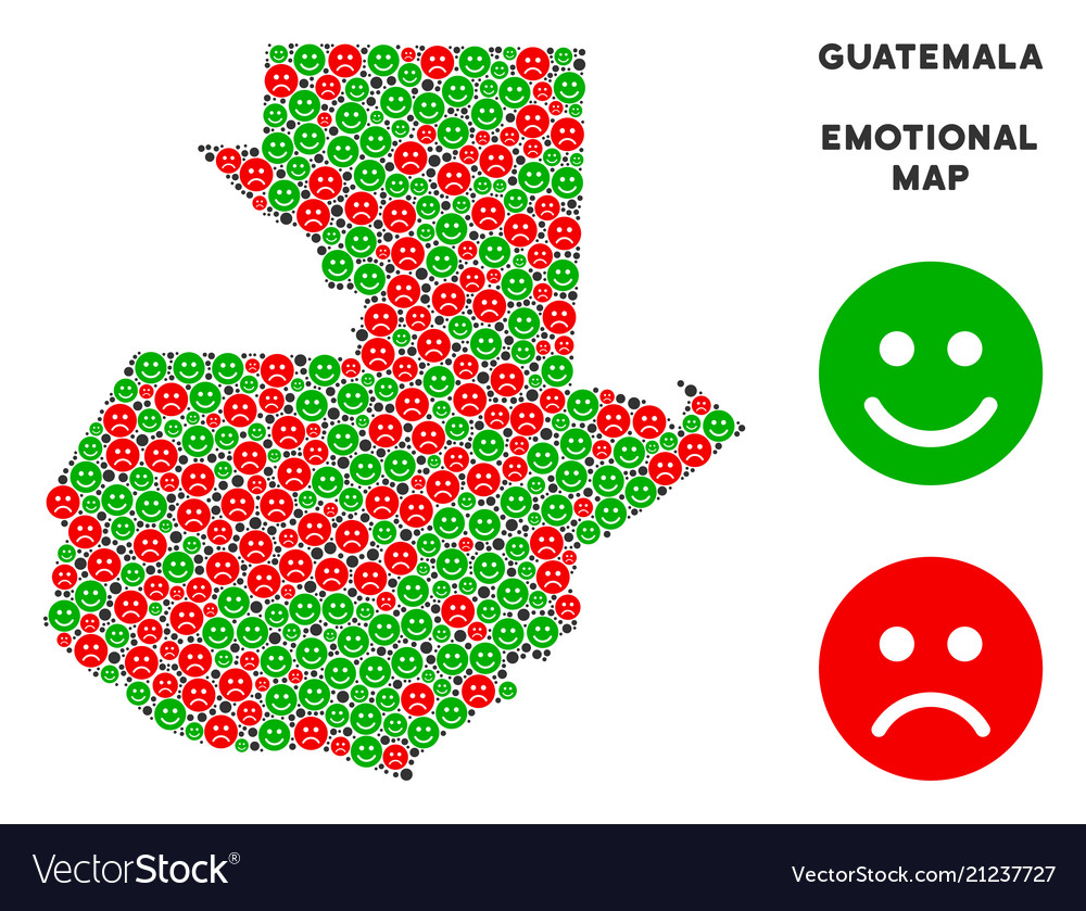 Emotion guatemala map collage of smileys Vector Image
