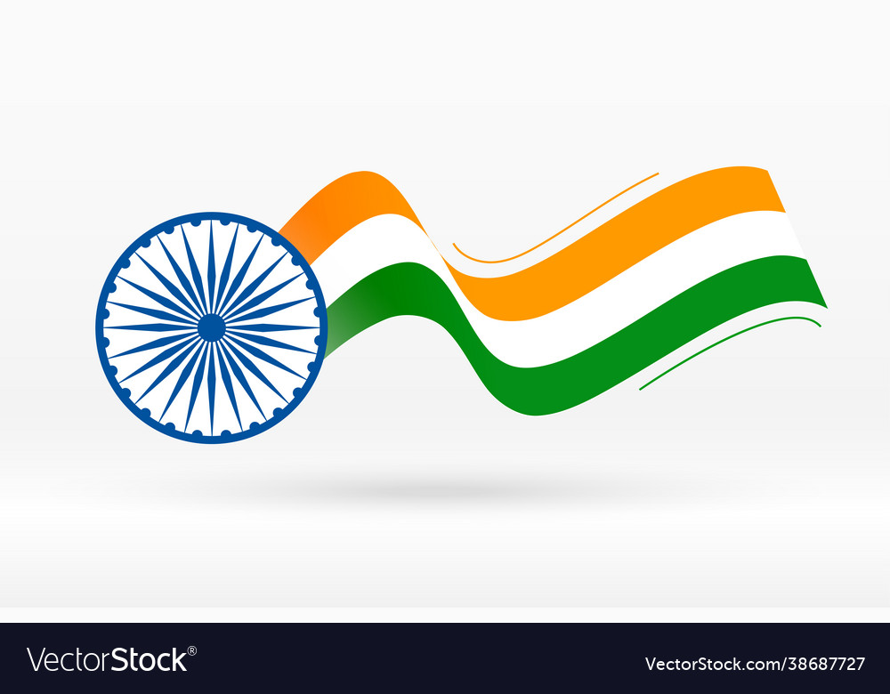 Flag india in creative wave style