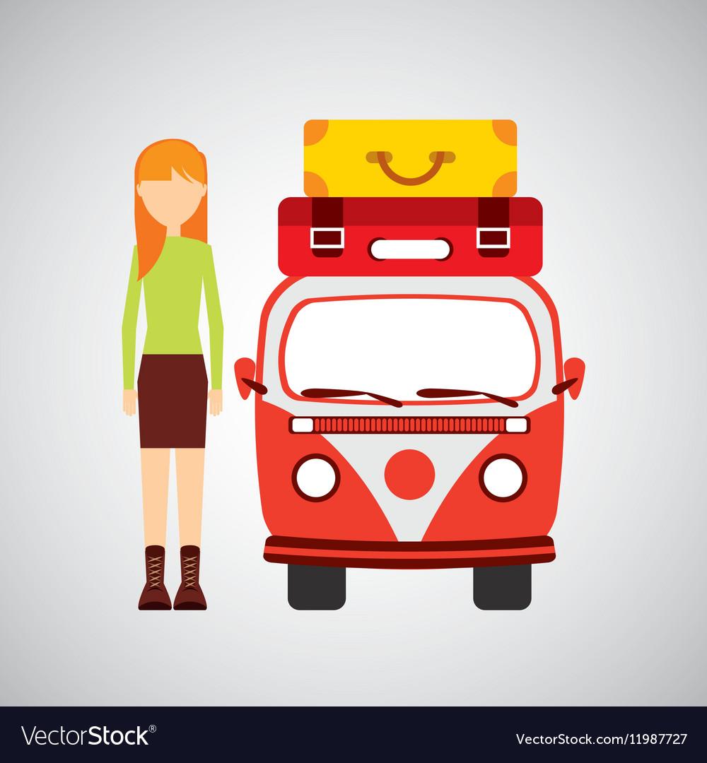 Girl blonde vintage van camper suitcases vector image
