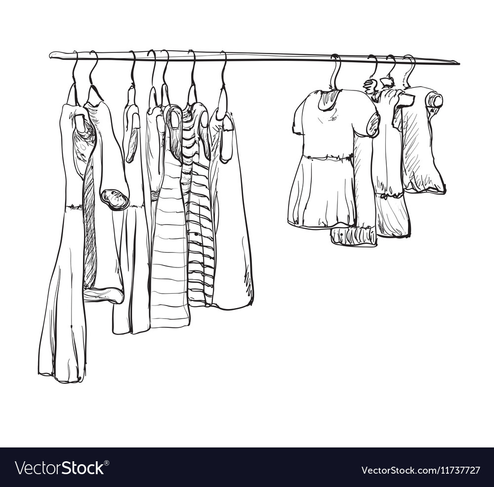 Hand drawn wardrobe sketch for baby girl vector image