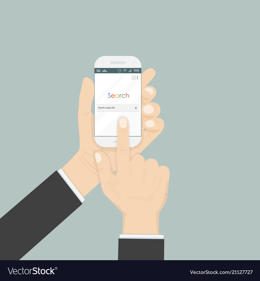 Hand holding smartphone and search browser