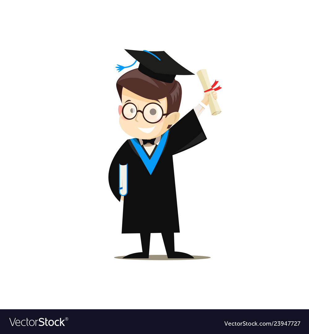 Happy graduate holding a book and diploma