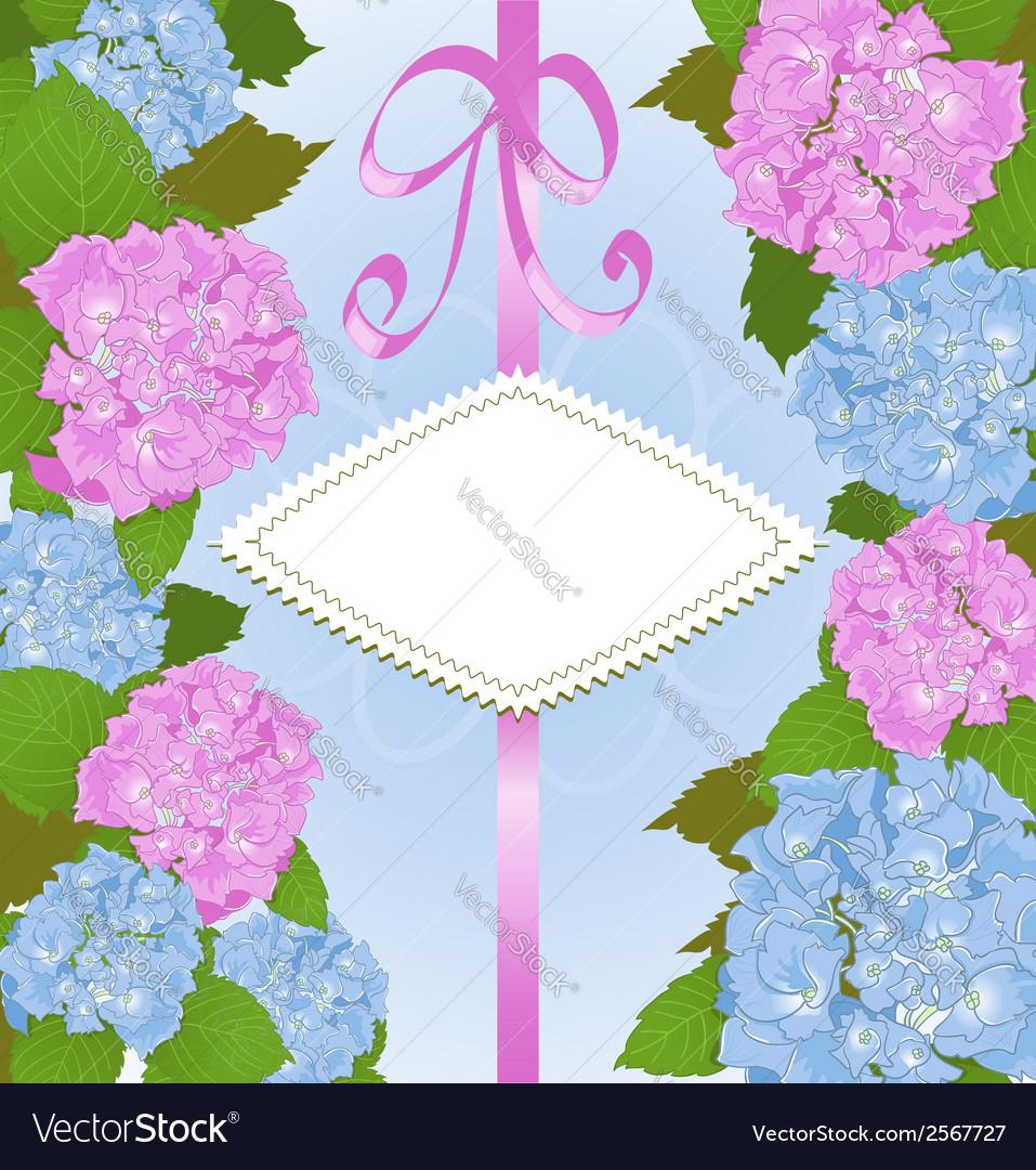 Invitation card with hydrangea flowers
