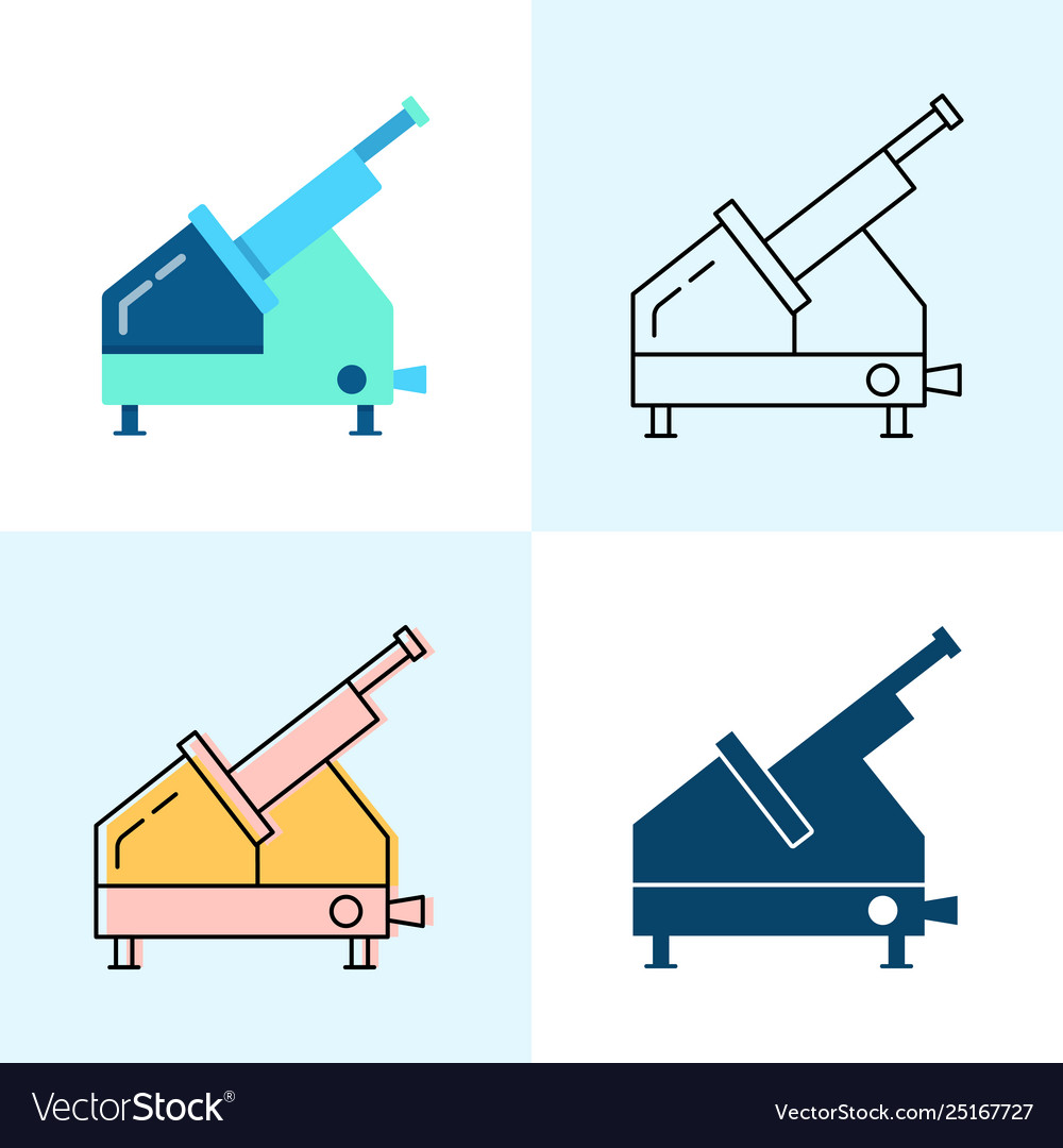 Meat slicer icon set in flat and line styles