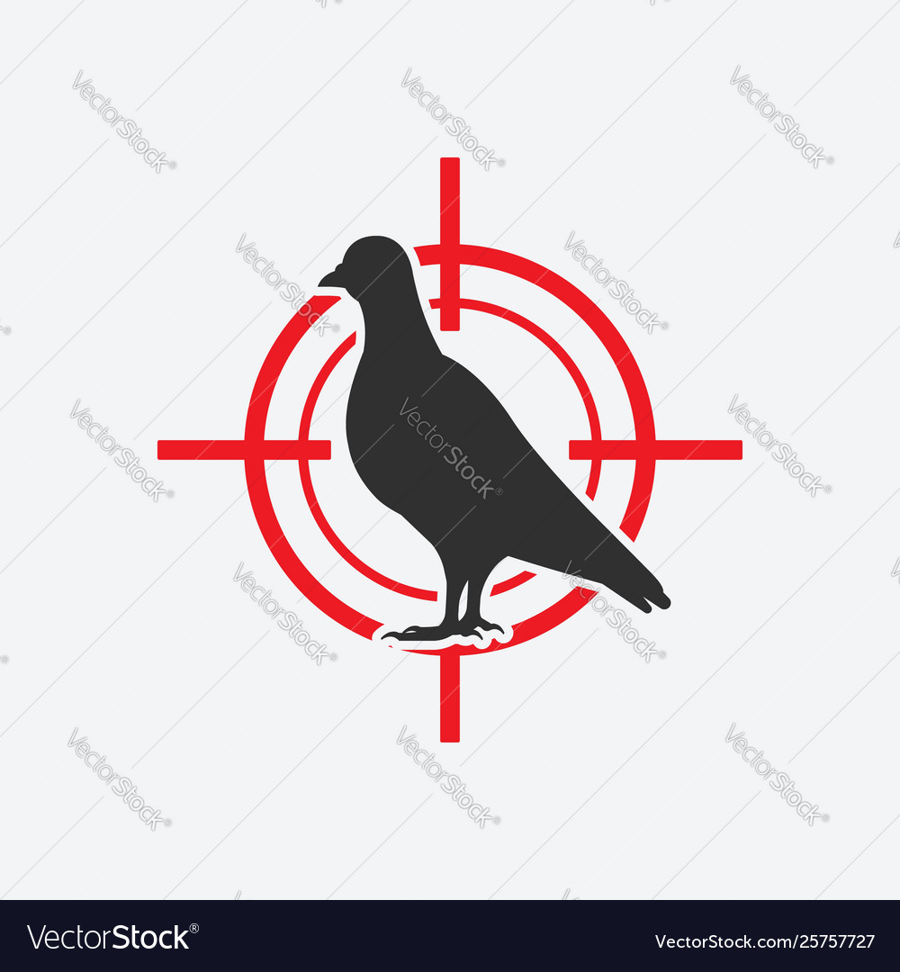 Pigeon silhouette icon red target