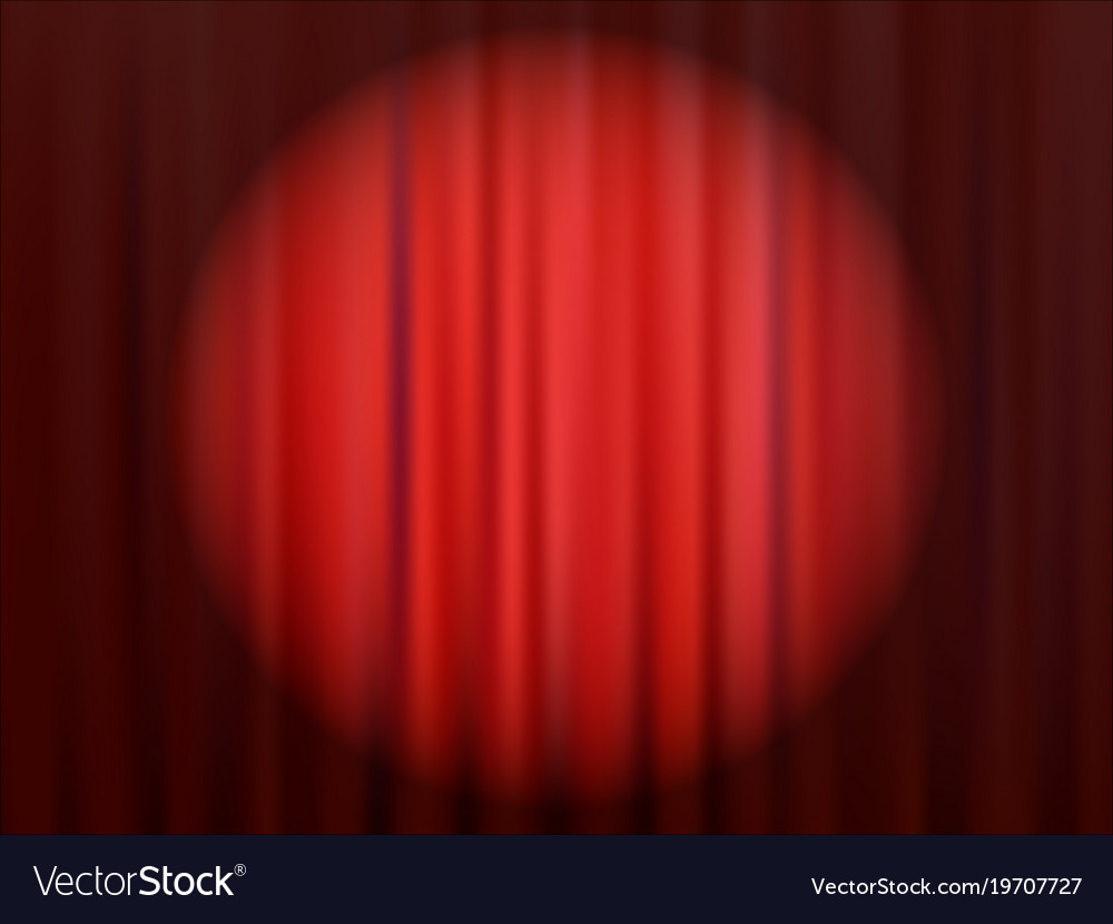 Red closed theater curtain with reflector