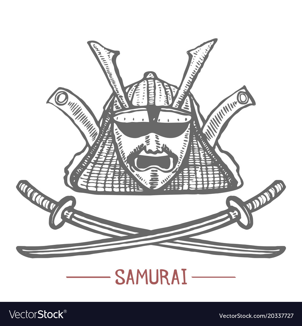 Samurai mask and swords in hand drawn style