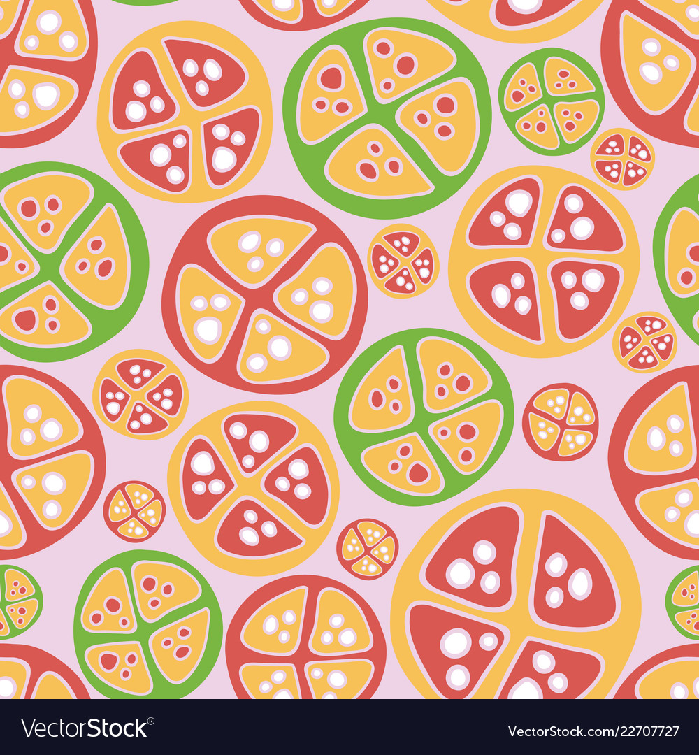 Tropical fruits green red pink pattern