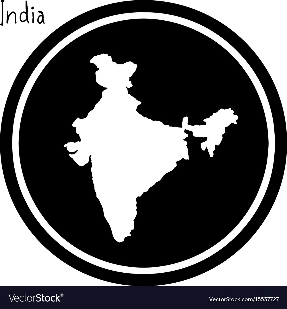 White map of india on black circle
