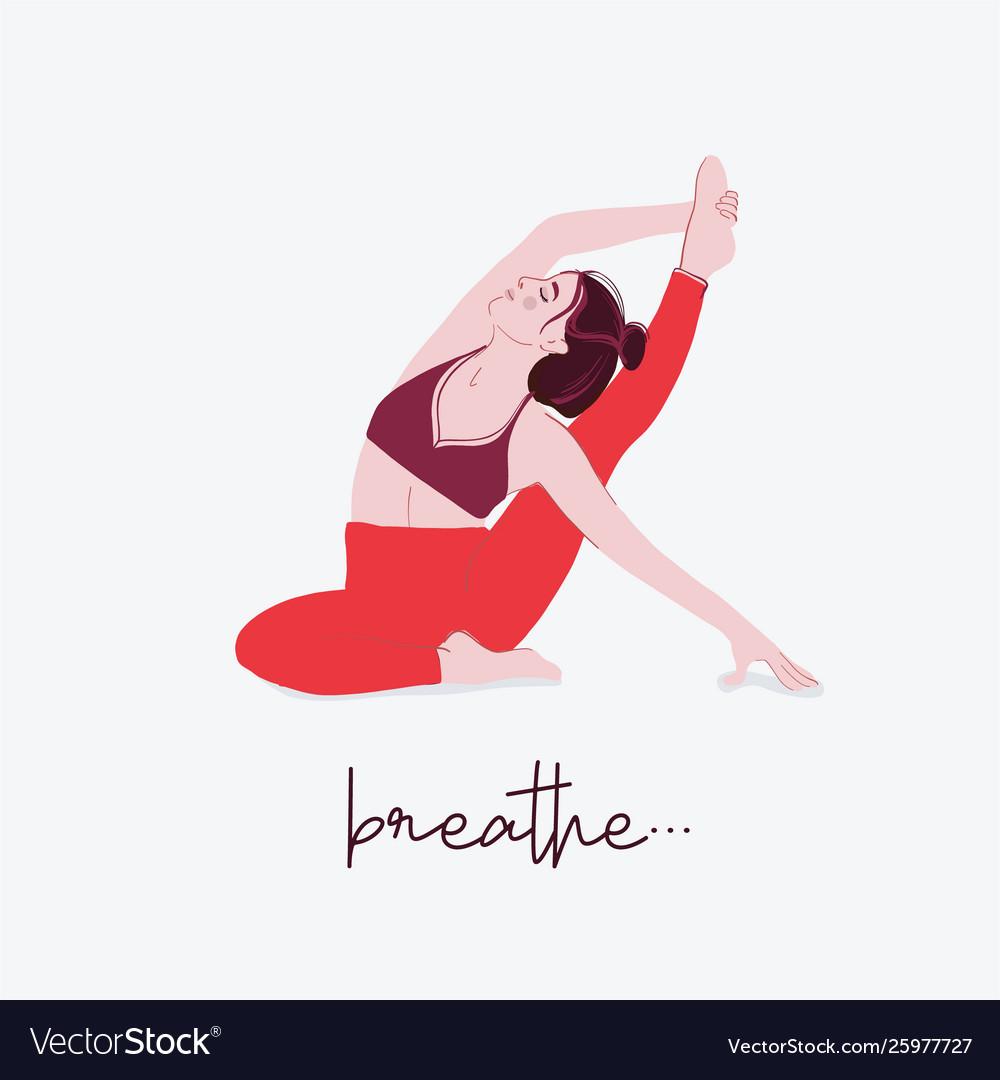 Woman yoga set typography flat female sport quote