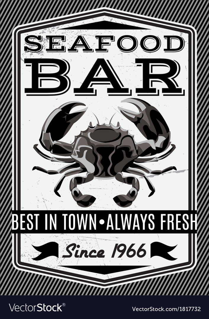Banner with crab for restaurant menu
