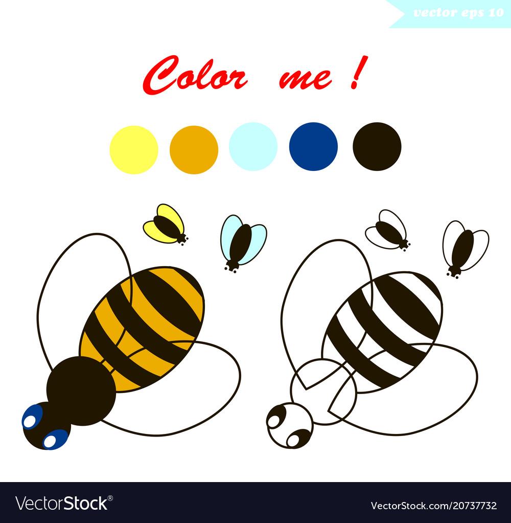 Bee Coloring Page Royalty Free Vector Image Vectorstock