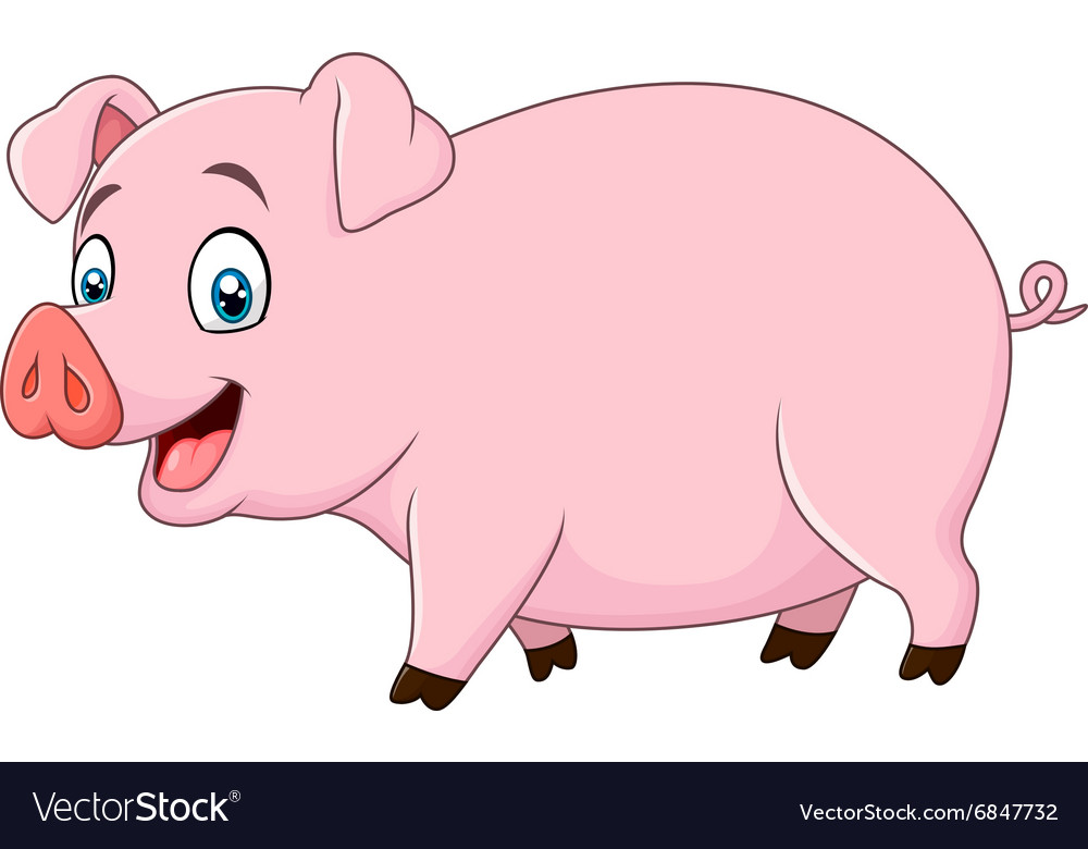 1be9739ae Cartoon happy pig isolated on white background Vector Image