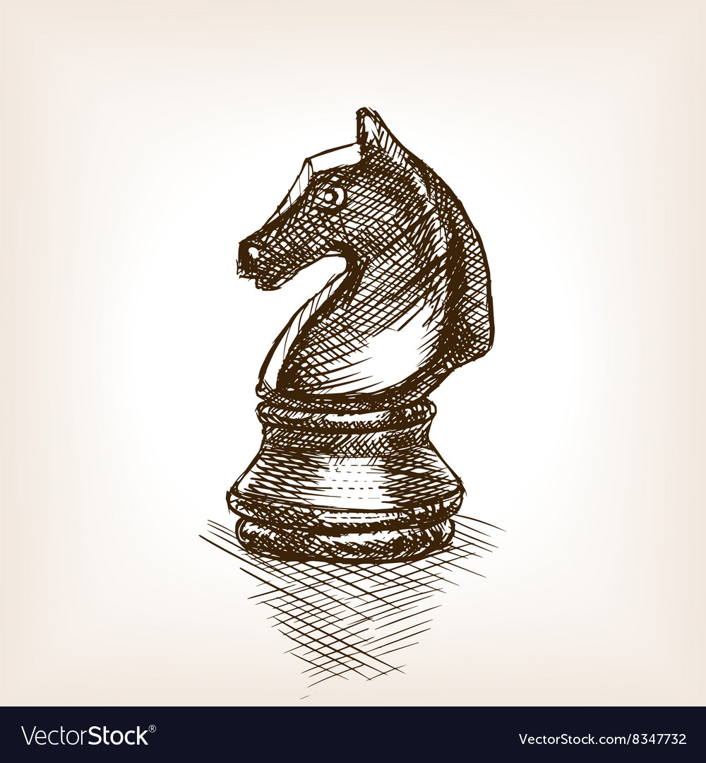 Chess Knight Sketch Royalty Free Vector Image Vectorstock