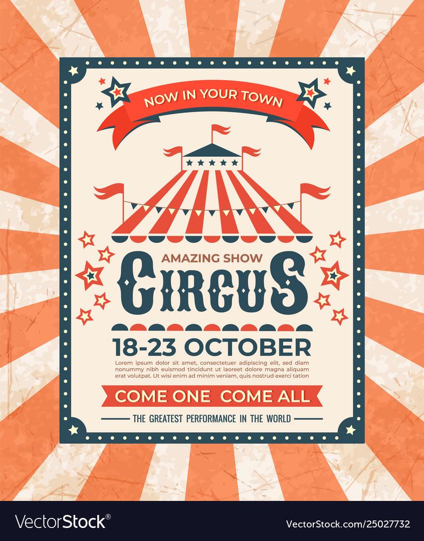 Circus poster carnival vintage old banner frame