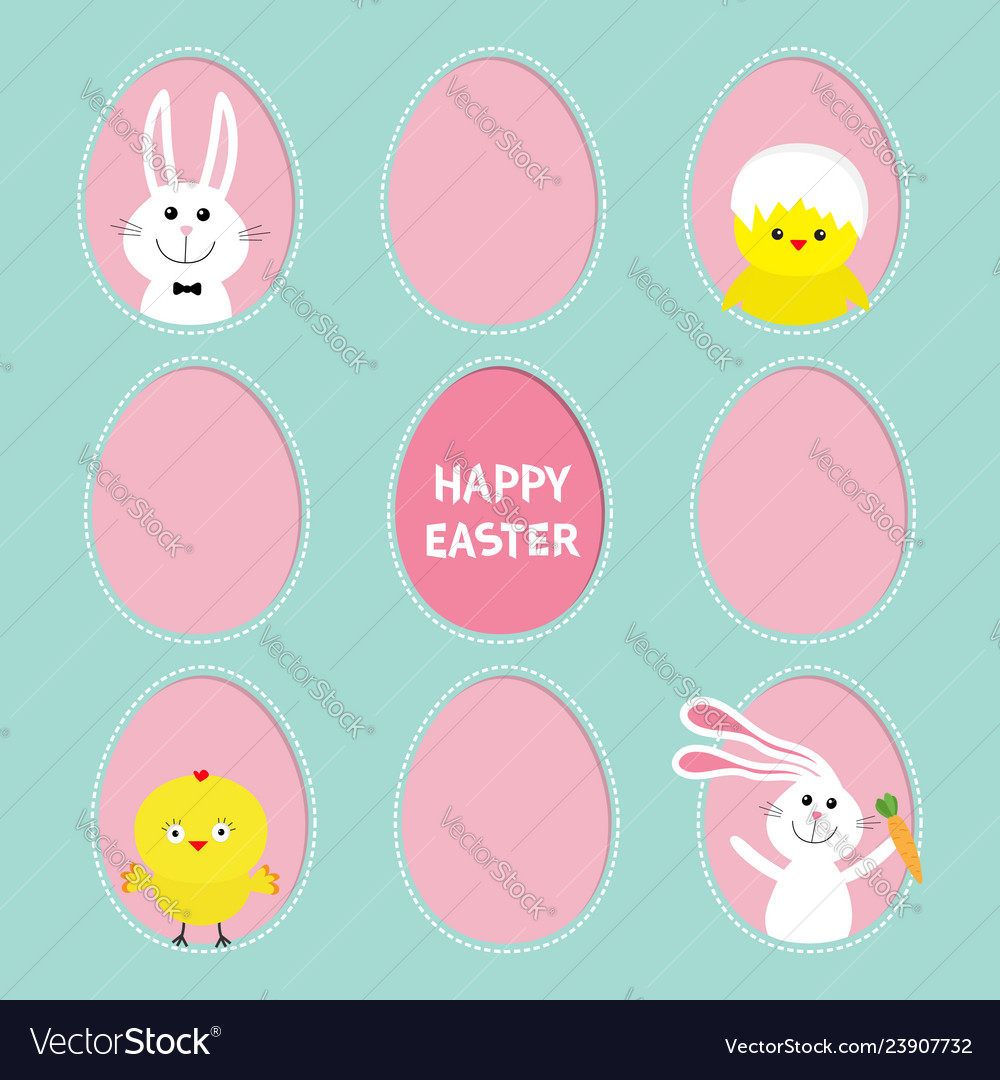 Happy easter text painted egg frame set bunny