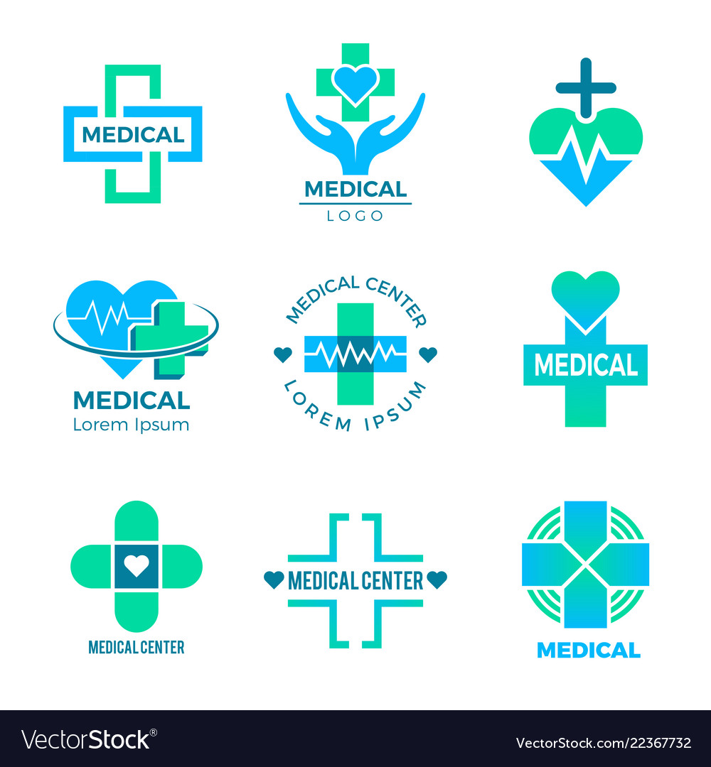 Health symbols medical signs for logo clinic