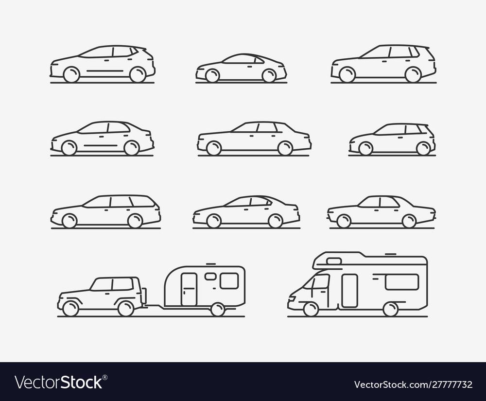 Icon set transportation car transport symbol