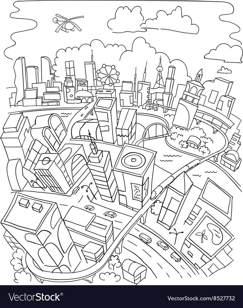 Line Draw Futuristic City Architecture Royalty Free Vector
