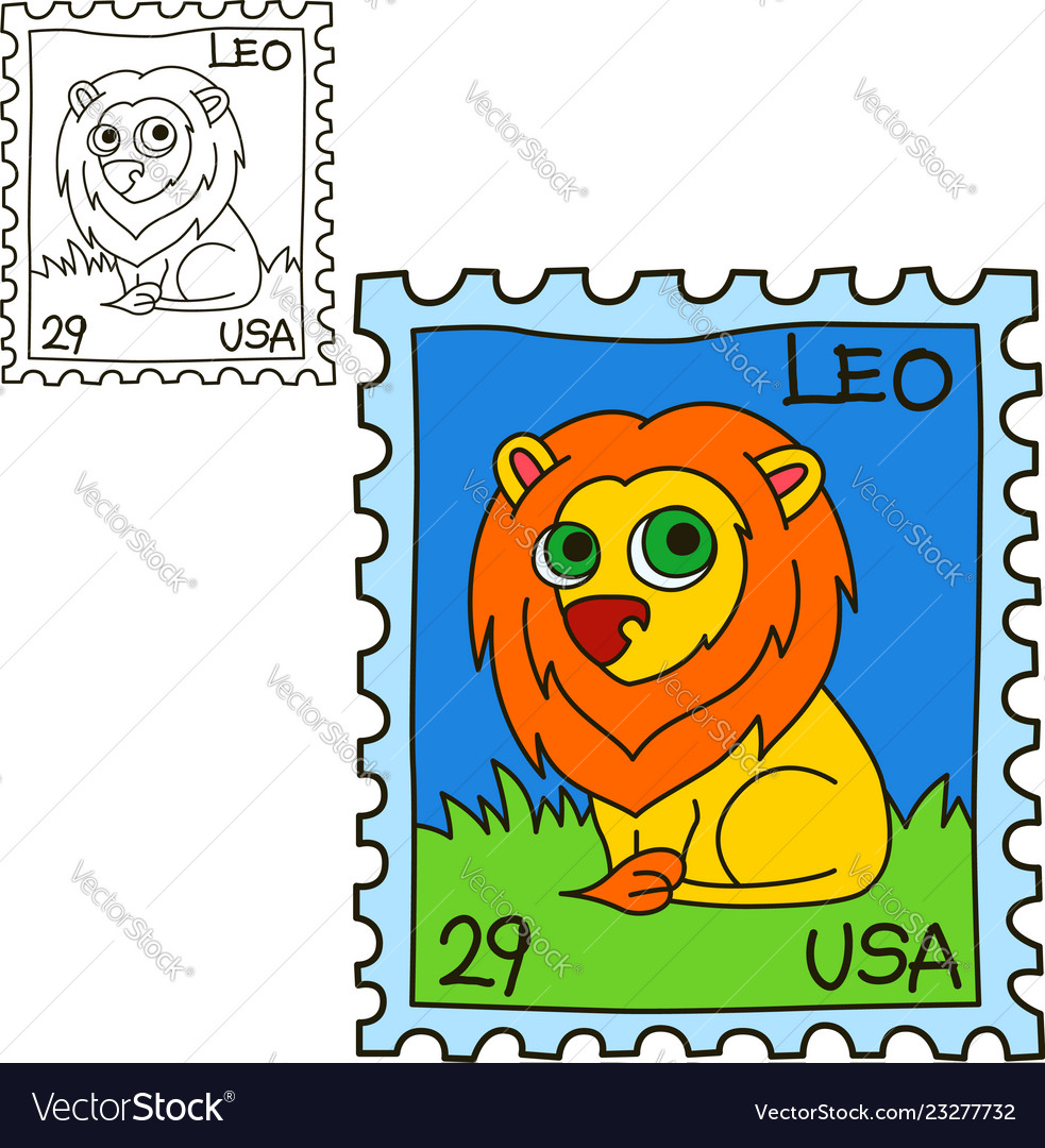 Postage stamp coloring book page