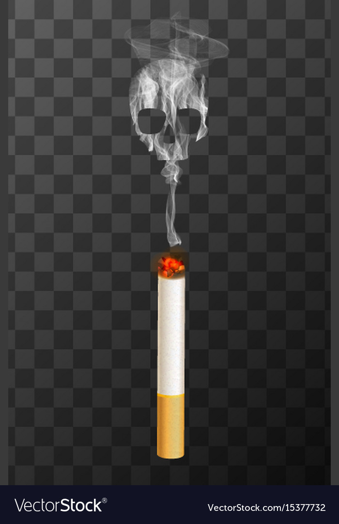 Realistic burning cigarette with white smoke in