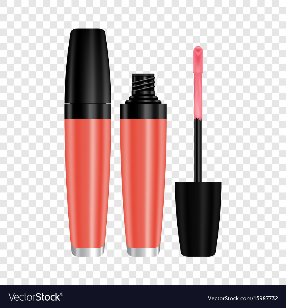 Red gloss for lips mockup realistic style vector image